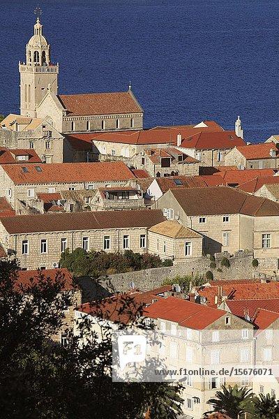 Croatia  Korcula  Old Town  skyline  aerial view.