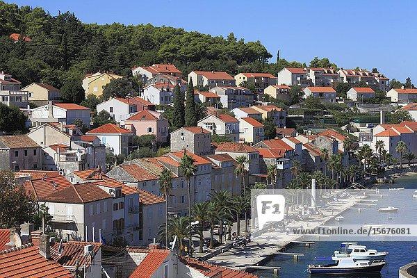Croatia  Korcula  Old Town  skyline  general view  harbor.