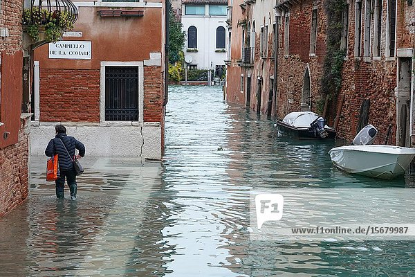 High tide in Venice  november 2019  Venice  Italy  Europe.