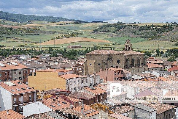 View of San Francisco Convent from Santo Domingo de la Calzada  Belltower  Santo Domingo de la Calzada Cathedral  La Rioja  Spain  Europe.