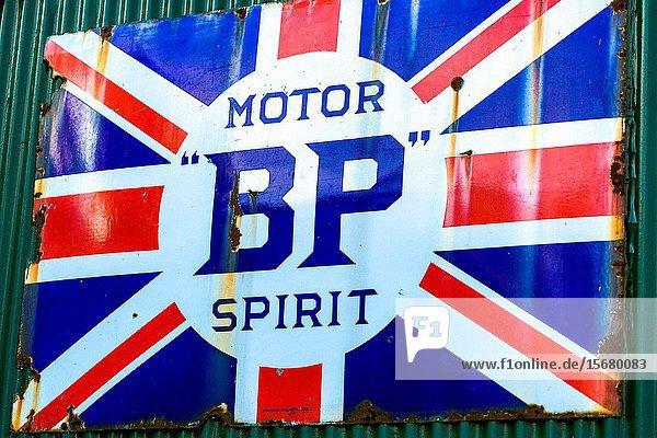 Old BP fuel sign. Wroxham Norfolk England UK.