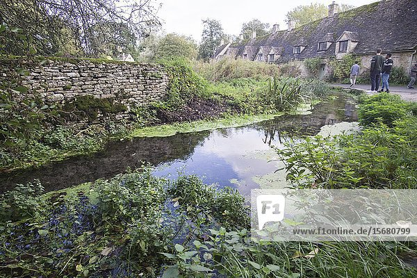 Traditional Cotswold cottages in England  UK. Bibury is a village and civil parish in Gloucestershire  England.Arlington row.