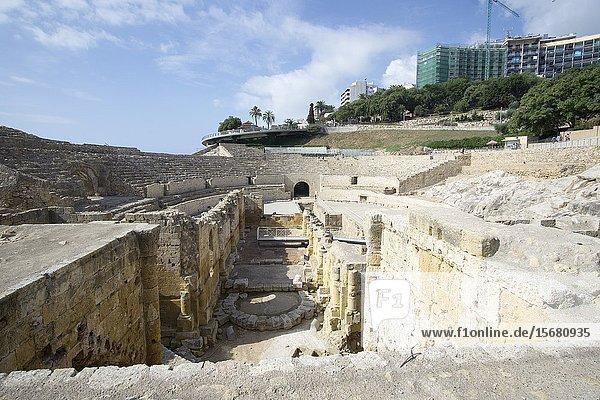The roman amphitheater in Tarragona  Catalunya  Spain.