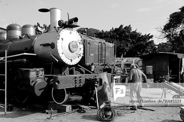 Cuba: Old train components are being restored for the railway museum in Havanna-City.