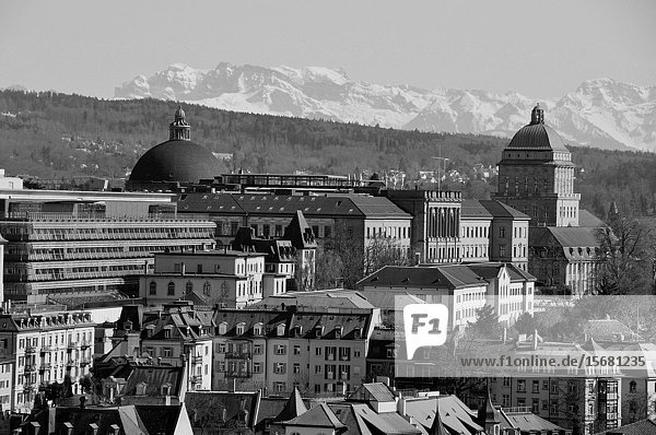 Panoramic view Zürich-City with part of the University and the 'Federal Institut of Technology' (ETH).