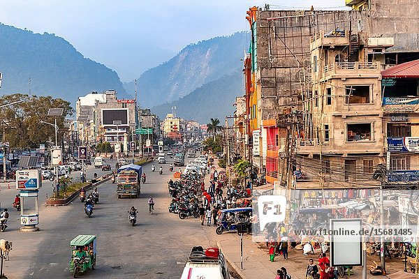 Butwal  Nepal: Busy downtown street of Butwal city in Nepal.