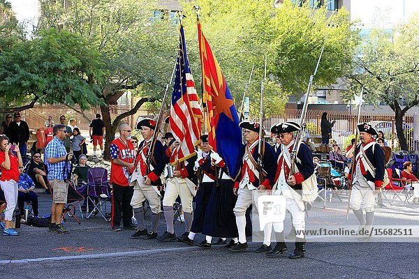 Tribute to the men and women of the forces of the 1776 Independance army at the Veterans day parade in Tucson AZ.
