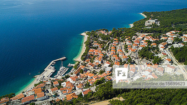 View of town with sea