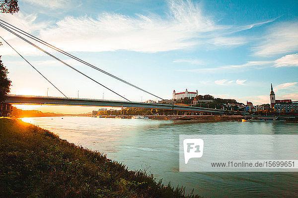 View of UFO Bridge over Danube River