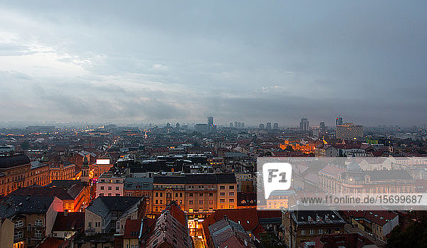 View of cityscape at dusk