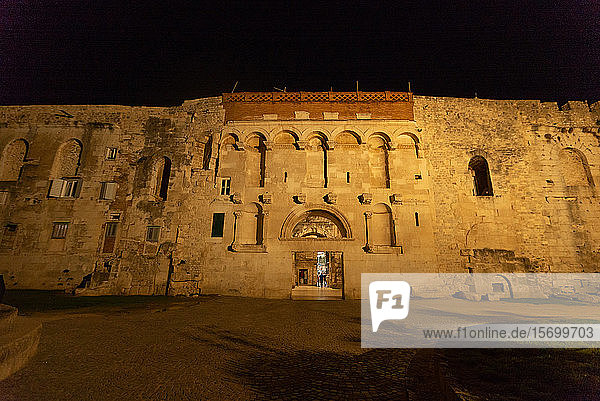 Exterior of Diocletian's Palace at night