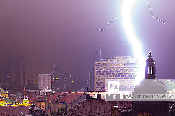 Thunderstorm in city