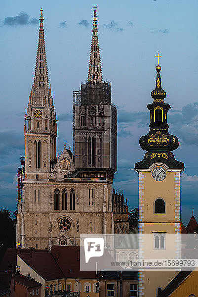 Zagreb Cathedral with clock tower