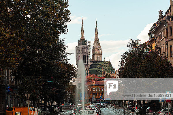View of Zagreb Cathedral in city