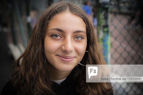 Close-up of smiling teenage girl