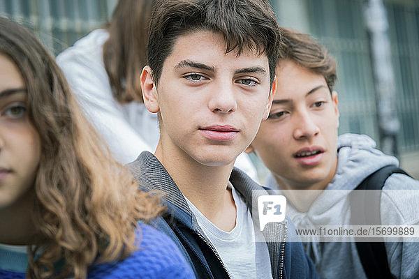 Close-up of teenage boy