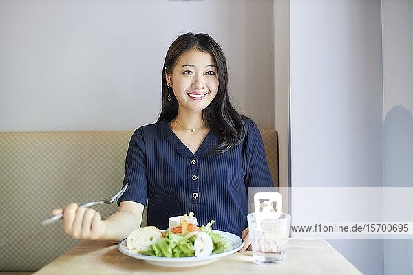 Japanese woman at a restaurant