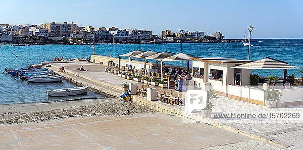 Italy  Apulia  Otranto  restaurant cafe on the pier