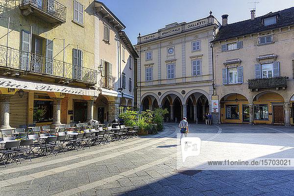 Italy  Piedmont  Domodossola  Piazza del Mercato  Teatro Galletti in background