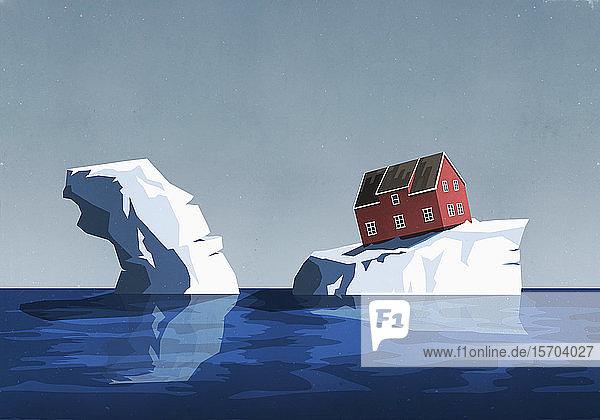 Haus auf Eisberg in prekärer Lage