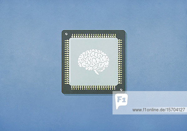 Bild eines Gehirns auf einem Computerchip