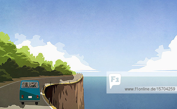 Couple driving retro van along ocean cliff
