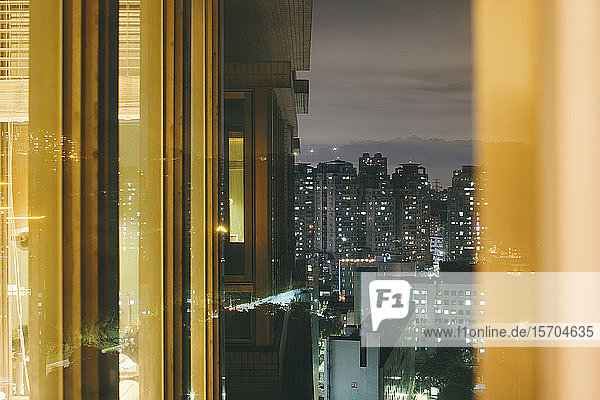 View of highrise buildings from window of apartment  Taipei  Taiwan