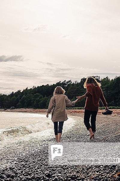 Rückansicht eines Paares beim gemeinsamen Spaziergang am Meeresufer am Strand gegen den Himmel