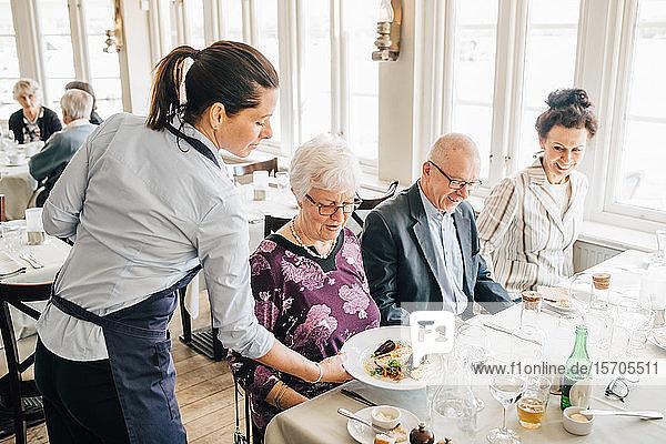 Besitzer serviert Essen für ältere Freunde am Restauranttisch