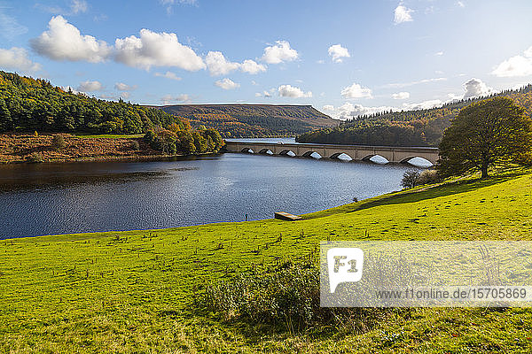 View of Ladybower Reservoir  Derbyshire  Peak District National Park  England  United Kingdom  Europe
