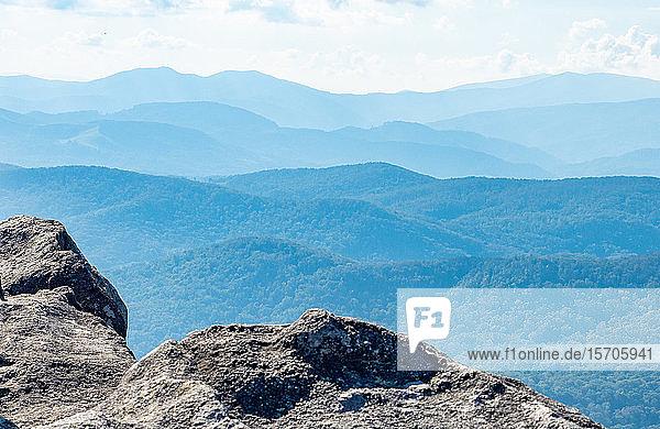 View from the peak of Grandfather Mountain  Blue Ridge Mountains  Appalachia  North Carolina  United States of America  North America
