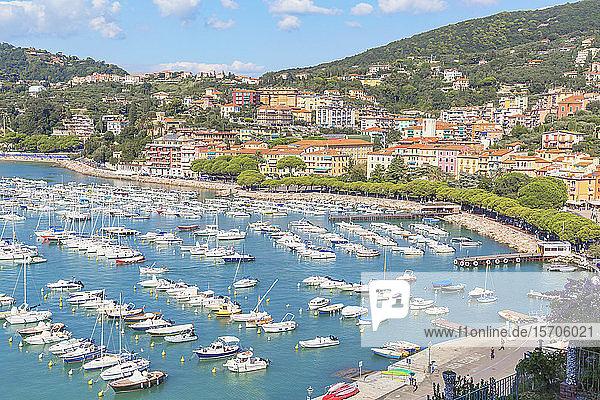 Marina harbour  Lerici  La Spezia district  Liguria  Italy  Europe