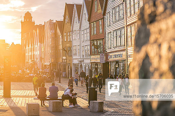 Tourists in Bryggen Old Town at sunset  UNESCO World Heritage Site  Bergen  Hordaland County  Norway  Scandinavia  Europe