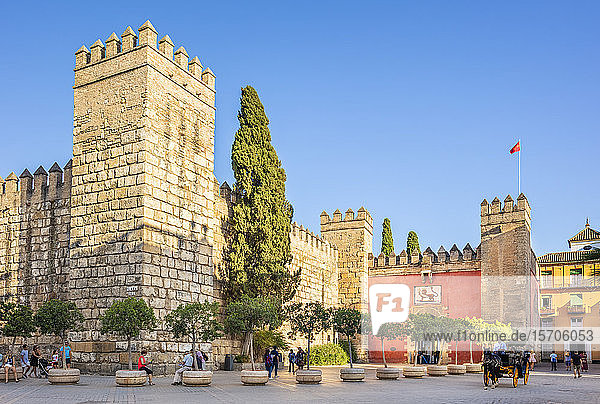 Entrance to the Alcazar Palace (Real Alcazar)  UNESCO World Heritage Site  Seville  Andalusia  Spain  Europe