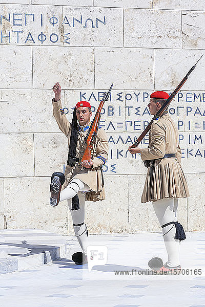 Evzone soldiers performing change of guard  Athens  Greece  Europe