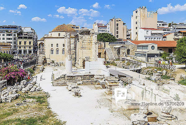 Remains of the Hadrian's Library and the old mosque in Monastiraki Square  Athens  Greece  Europe