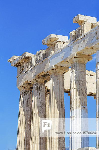 Parthenon temple on the Acropolis of Athens  UNESCO World Heritage Site  Athens  Greece  Europe