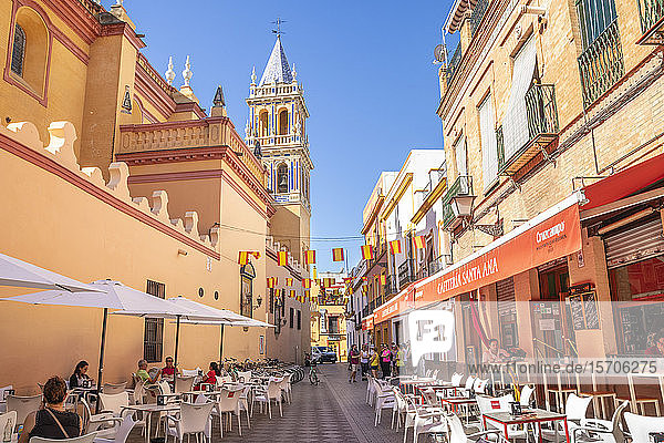 Bar Santa Ana near the Real Parroquia de Senora Santa Ana Catholic church in Triana  Seville  Spain  Andalusia  Spain  Europe
