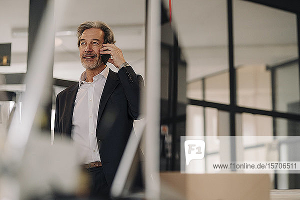 Senior businessman on the phone in office