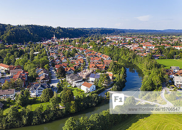 Germany  Bavaria  Wolfratshausen  Aerial view of countryside town