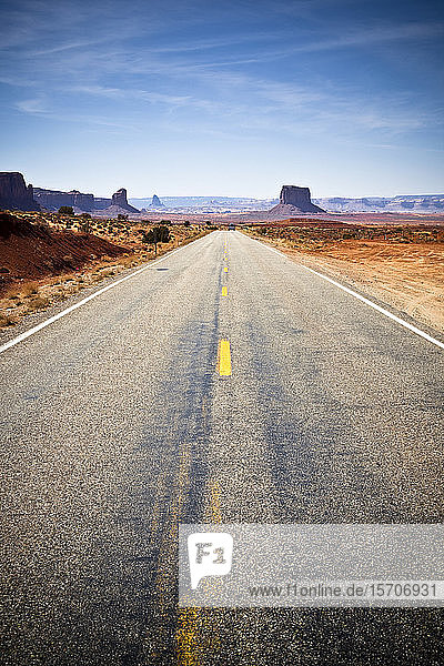 USA  Arizona  Empty highway across Monument Valley