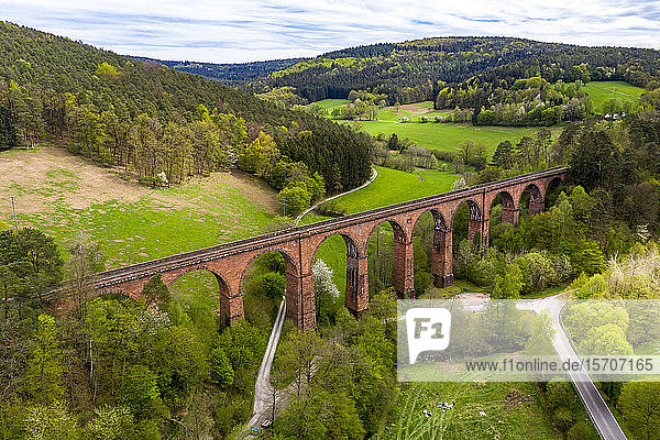 Germany  Hesse  Erbach  Aerial view of Himbachel Viaduct