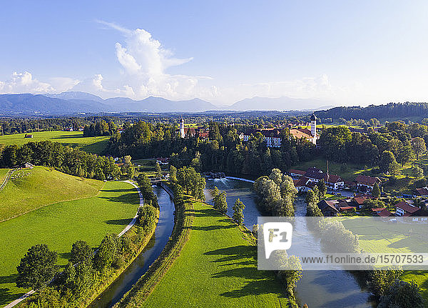 Germany  Bavaria  Eurasburg  Aerial view of Loisach river and countryside town