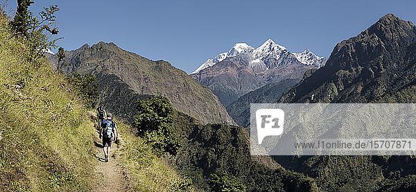 Wandern in der Myagdi-Khola-Schlucht  Dhaulagiri-Rundwanderung  Himalaya  Nepal