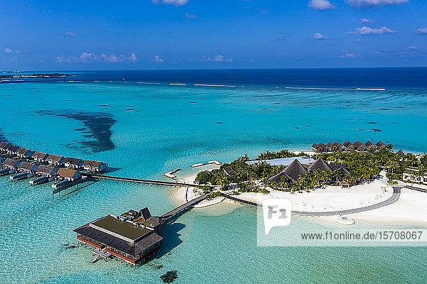 Maldives  South Male Atoll  Aerial view of resort on Maadhoo