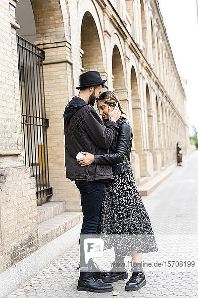 Young couple in love in the city