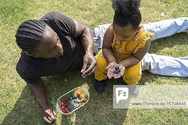 Mädchen mit Vater hält Blaubeeren auf einer Wiese in einem Park