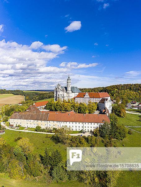 Germany  Baden-Wuerttemberg  Neresheim  Aerial view of Benedictine Monastery  Neresheim Abbey