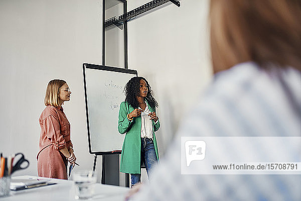 Businesswoman leading a presentation at flip chart in conference room