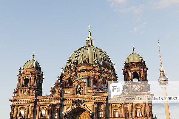 Germany  Berlin  Facade of Berlin Cathedral with Berlin TV Tower in background